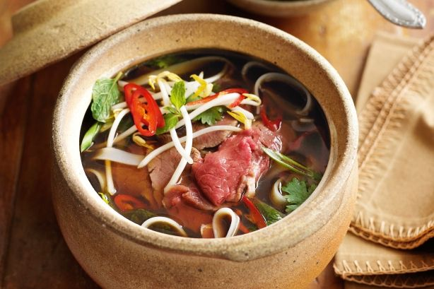 Pho is a traditional Vietnamese soup, where thin strips of beef are ...