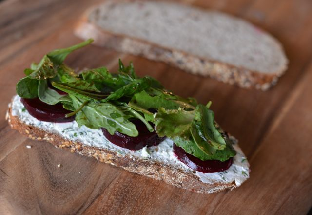 roasted beet and herbed goat cheese panini with arugula