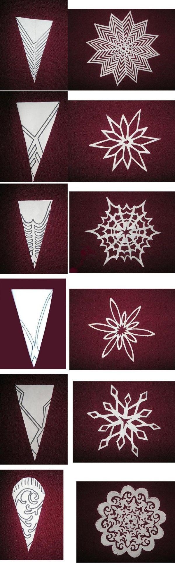 Схема вырезаем снежинки из бумаги своими руками