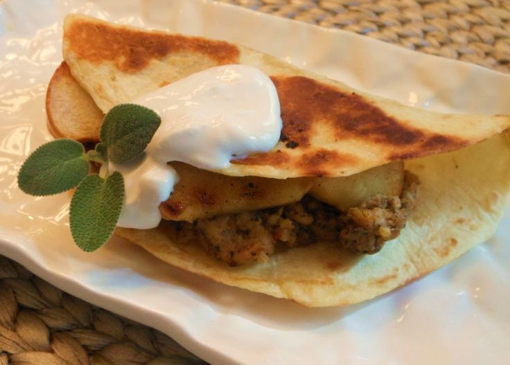 "... Sausage"" and Grilled Apple Quesadillas + Recipe for Quick Vegan Cashew"