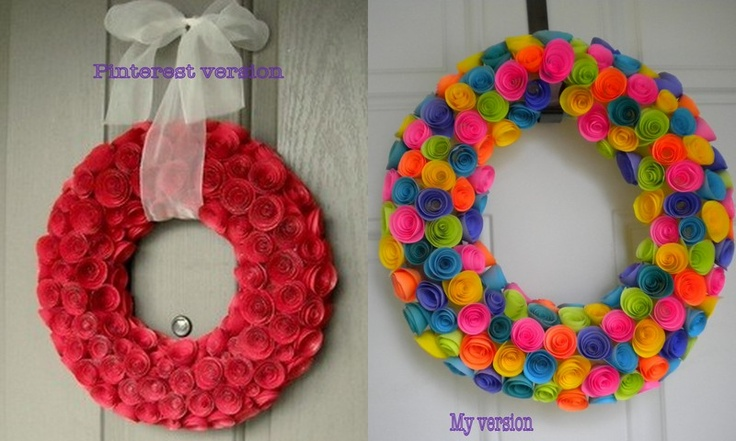 Paper rolled flower wreath