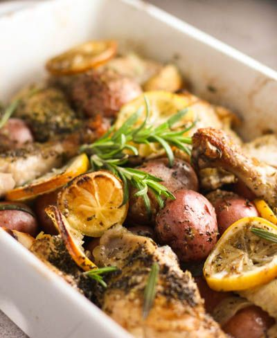 the oven for an hour… Roasted Lemon Chicken w/ Potatoes & Rosemary ...