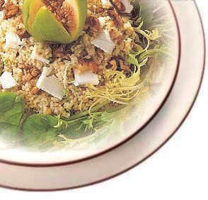 Arugula, couscous and goat cheese salad (minus the figs)