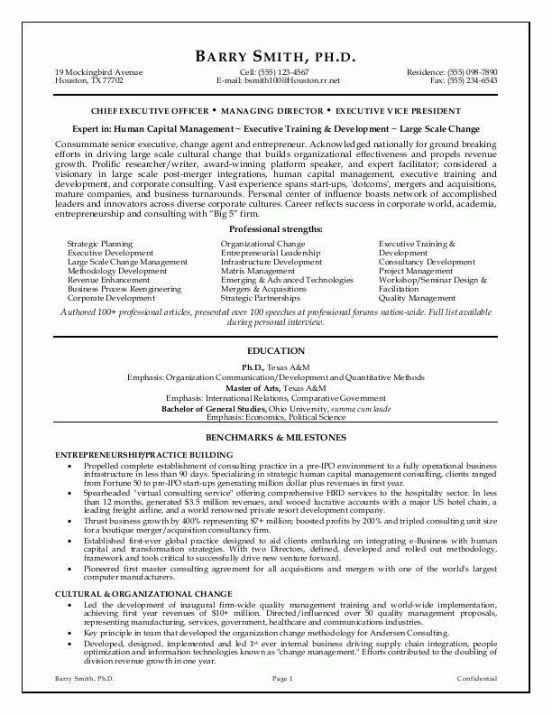 Best Resume Format Executive