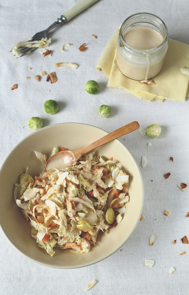 Thai-style Cabbage and Brussels Sprouts Slaw with Coconut-Peanut ...