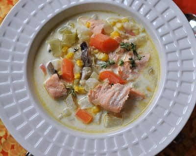 Recipe for salmon chowder. Fresh salmon in a creamy broth with carrot ...