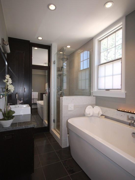 Narrow bathroom bathrooms pinterest for Narrow bathroom designs