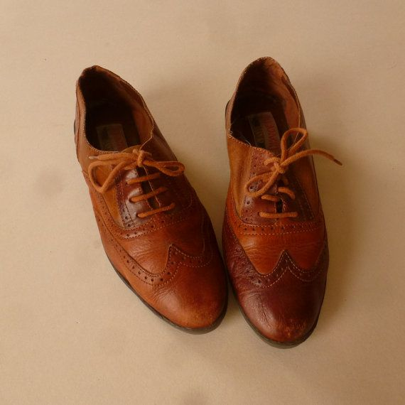 Brown Leather Shoes Womens Brogue Shoes Size by thatwasagoodyear, $42