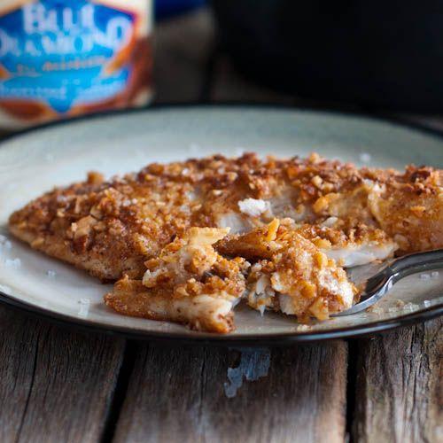 ... Tilapia by pinchofyum: 4 ingredients,15 minutes #Fish #Tilapia #Almond