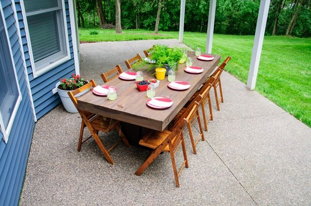 Backyard Table Diy : DIY Outdoor Patio Table  House Build  Pinterest