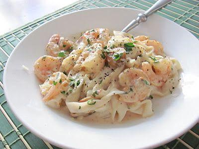 Light Fettuccine Alfredo With Shrimp And Peas Recipe — Dishmaps