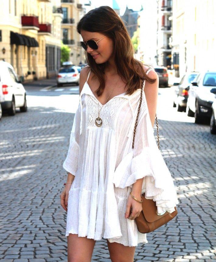 White Summer Boho Dress Bohemian Pinterest