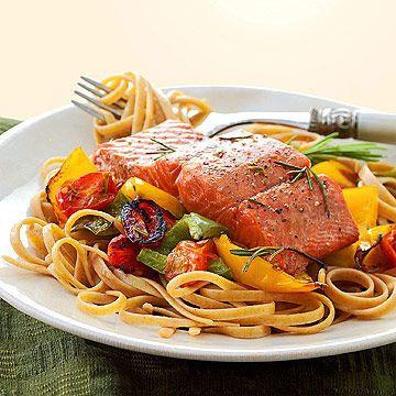 Salmon with Whole Wheat Pasta | Seafood | Pinterest