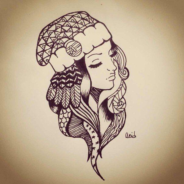 #girl #sketch #pen #swag by Acid