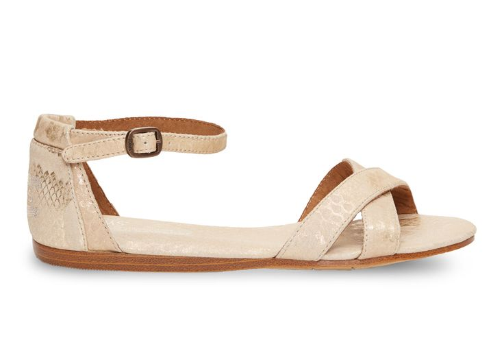 Toms Gold Suede Snake Women's Correa Sandals