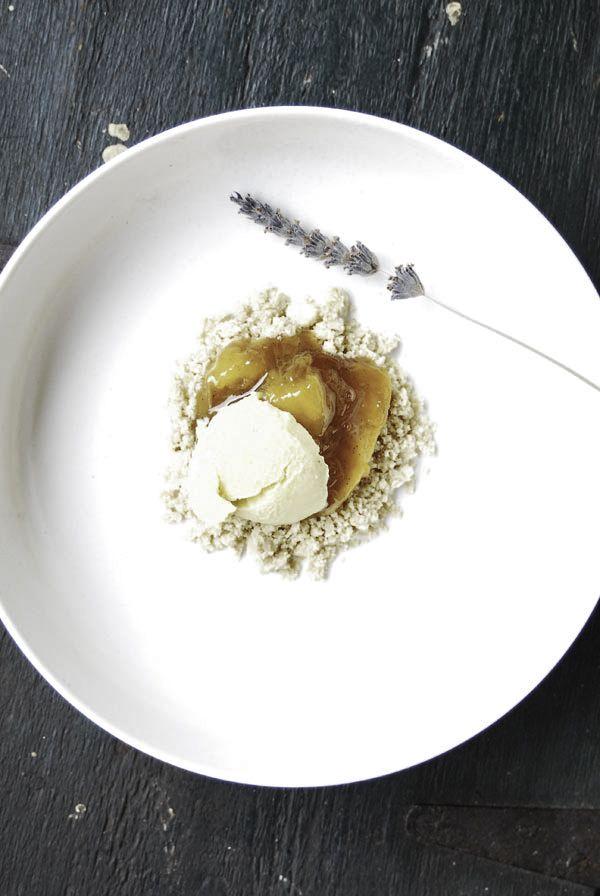 Vanilla peach jam crumble with white chocolate mango ice cream - See ...