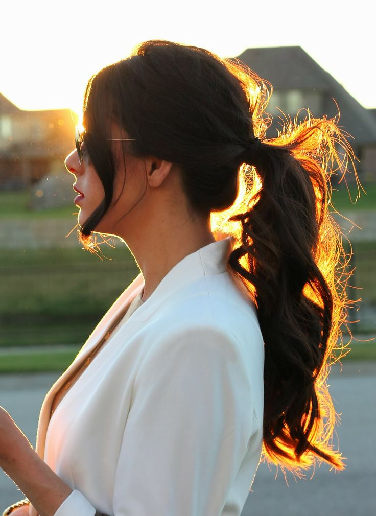ponytail, brunette ponytail, curly ponytail, the sweetest thing hair, ponytail pinterest, fall 2013 ponytail, white blazer, emily ann gemma,...