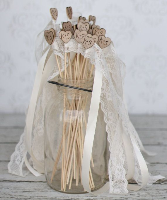 Personalized Wedding Wands Rustic Chic Decor SET by braggingbags, $200 ...