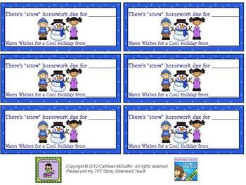 FREEBIE Holiday Homework Passes! 4 Different Designs