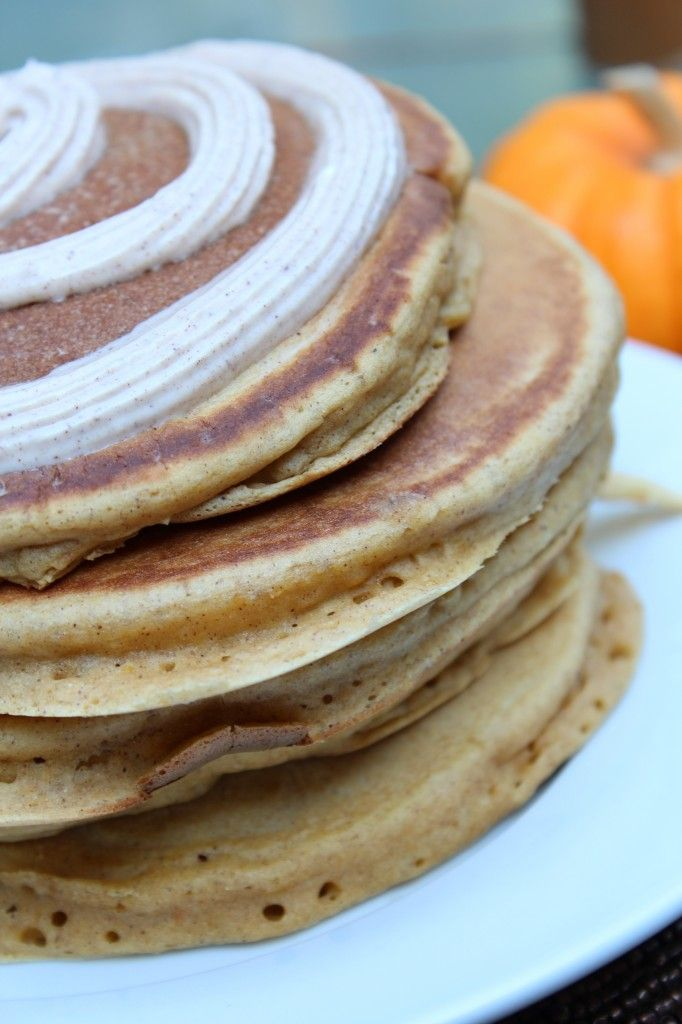 Pumpkin Cinnamon Roll Pancakes | Food | Pinterest