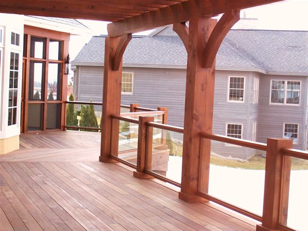 Wood and glass railing landscaping pinterest - Glass and wood railing design ...