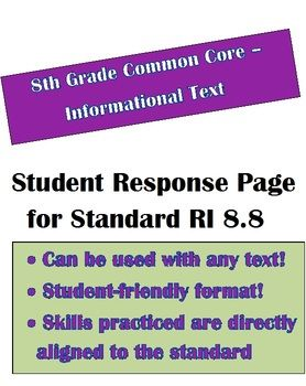 Reading Informational Text Worksheet to use with any text. RI 8.8