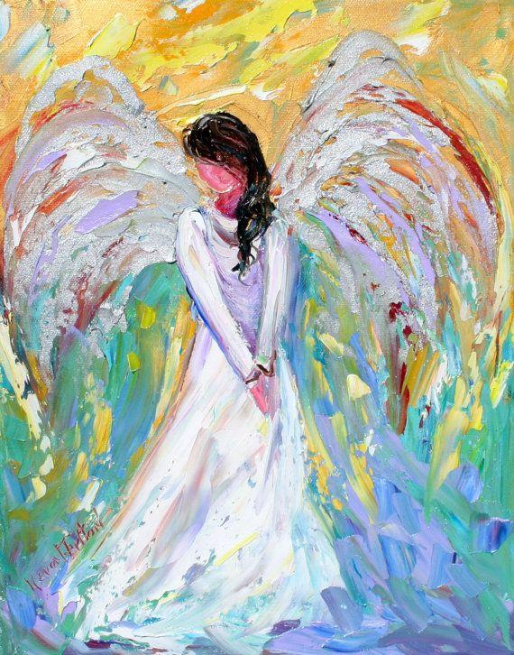 Karen Tarlton Original oil painting Angel - impasto palette knife imp ... Oil Paintings Of Angels