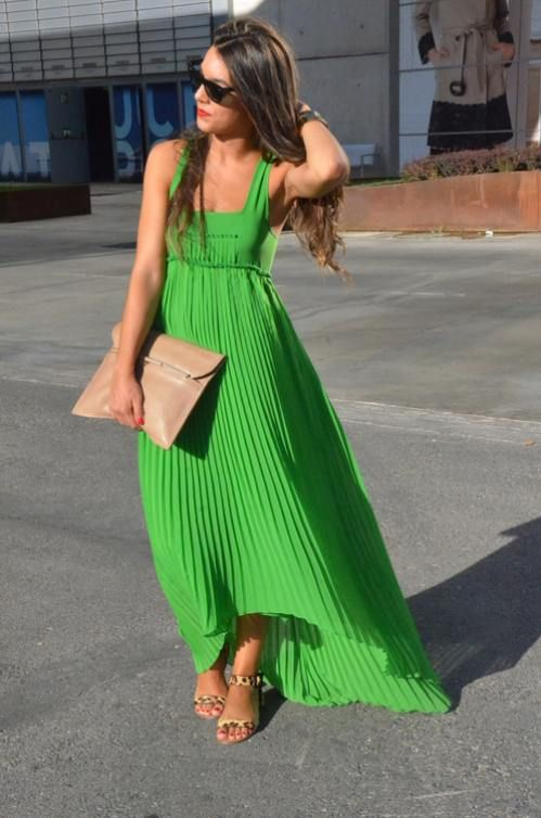 Lovely Green Dress With Light Brown Purse