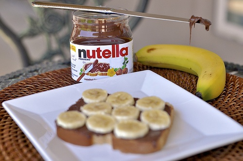 Nutella and Banana on a slice of bread... I'm really craving it right ...