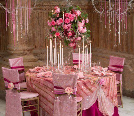 Pretty pink elegant table settings pinterest for Pretty wedding table decorations