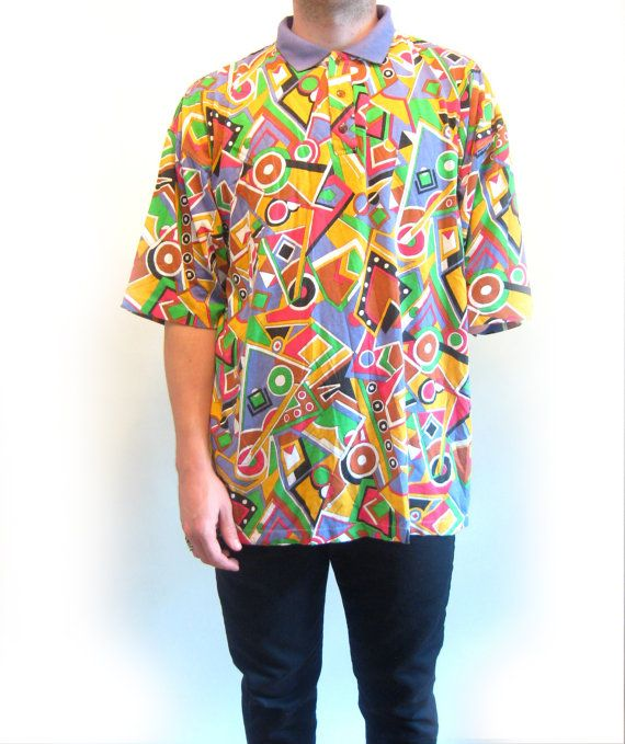 Men 39 s geometric print early 90s polo shirt size xl for Patterned dress shirts for men