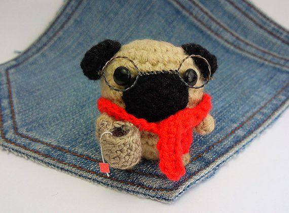 Amigurumi Pug, crochet Pug with glasses scarf and a tiny ...