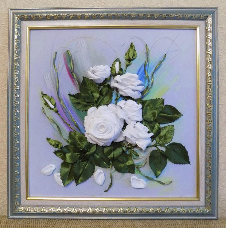 Вышивки с лентой розы натальи разживаловой