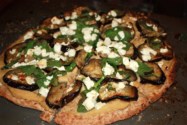 Not your average Pizza and Salad The pizza: hummus, roasted eggplant ...