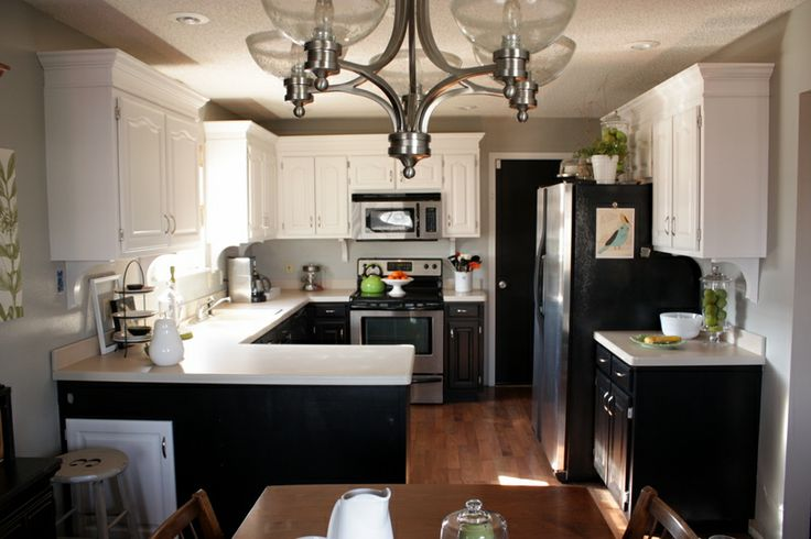 white upper cabinets with black lower cabinets  Kitchen  Pinterest