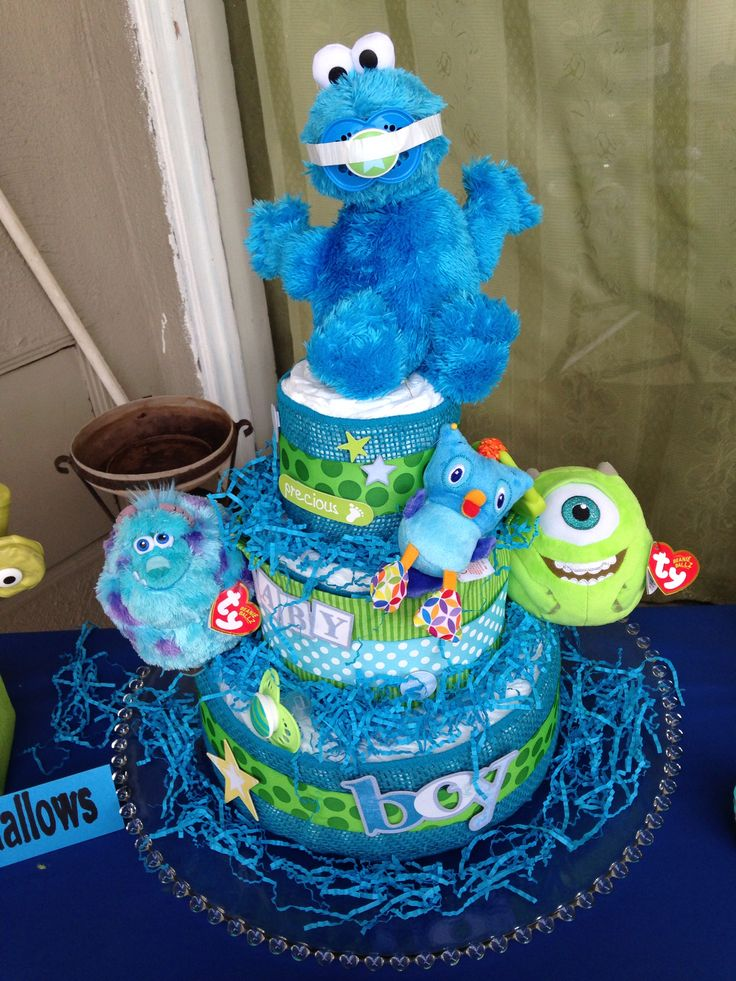 diaper cake monsters inc baby shower baby shower pinterest
