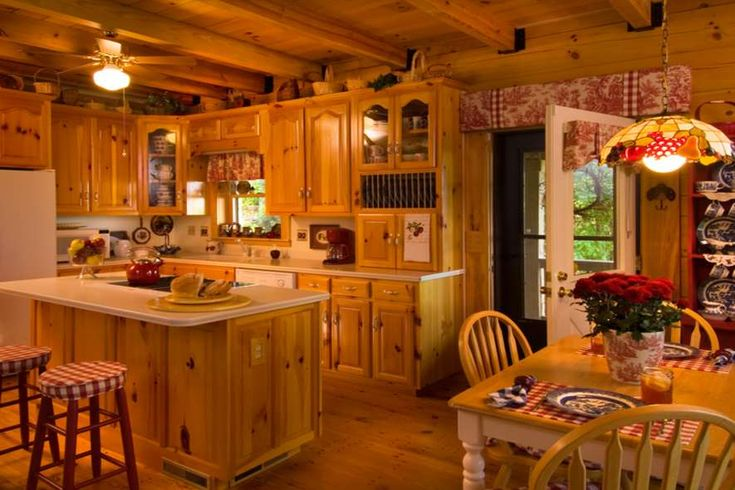 country kitchen with red accents beautiful houses