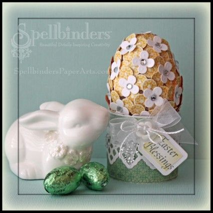 Beate's done it again - Lovely easter egg treatment with punched flowers and rhinestones!