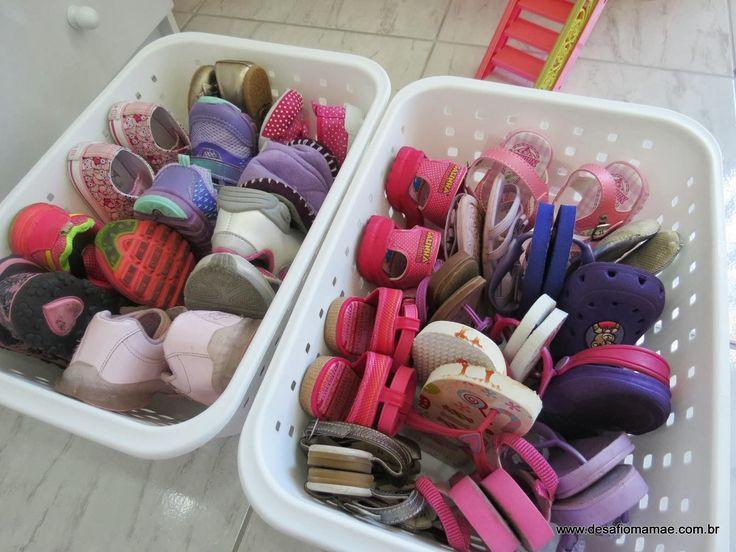 Organização dos sapatos infantis