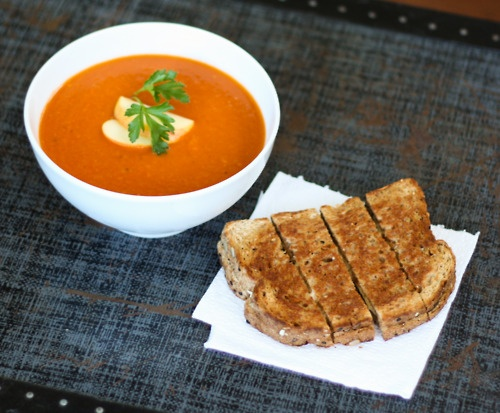 Tomato Apple Soup (Veganized from Stephanie Izard) with Grilled Daiya ...