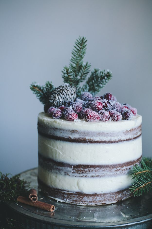 The Best Holiday Cake - Soft gingerbread cake with cream cheese frosting and sugared cranberries