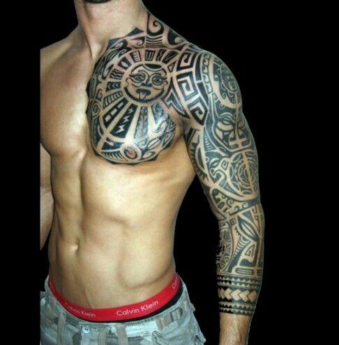 tribal half sleeve chest tattoo tattoos i love pinterest. Black Bedroom Furniture Sets. Home Design Ideas