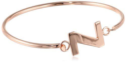 10: Goldtone Brass Initial Bangle Bracelet, 2.75″