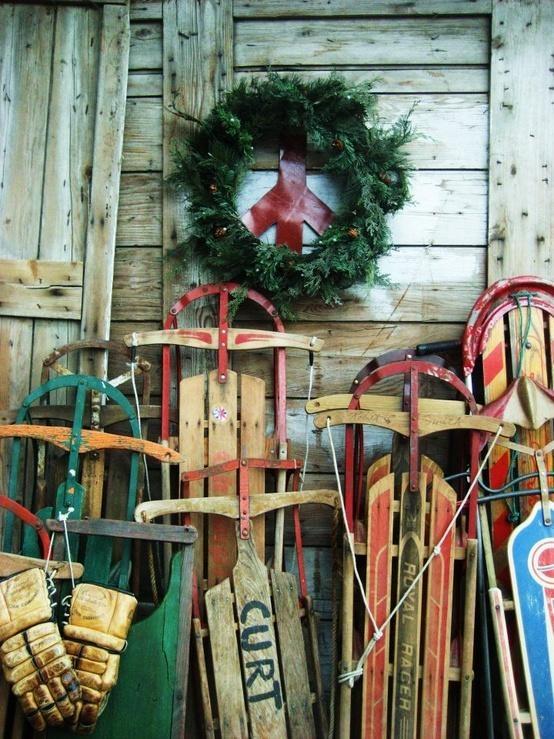 Vintage sleds a vintage christmas pinterest for Vintage sleds