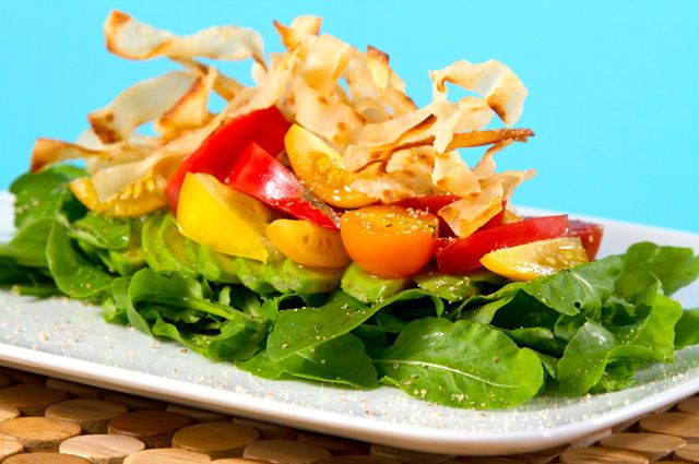 Heirloom Tomato and Avocado Salad with Crispy Wontons and Spicy Cilan ...