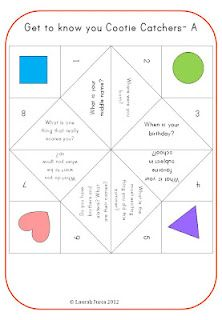 The Lesson Cloud  First Day of School Cootie Catcher ( but I dislike that name-sorry!)