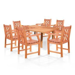 Latticework 60 In Square Table And Chairs Dining Set Seats 6