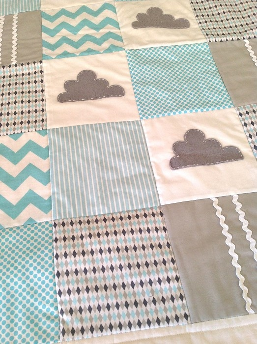 Little Cloud Cot quilt in aqua and grey