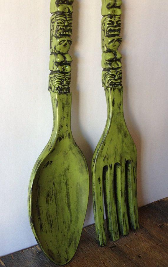 Tiki Bar Large Spoon And Fork Avocado Green Wall Decor