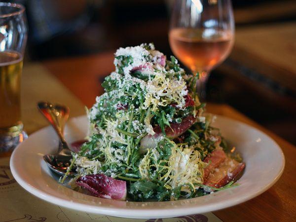 Tricolore salad: arugula, endive, radicchio with Parmigiano Reggiano ...